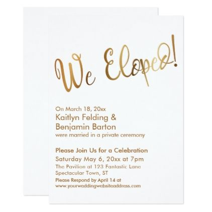 We Eloped Gold And White Post Wedding Celebration Card