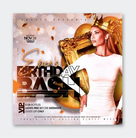 Birthday Bash Party Flyer Template PSD