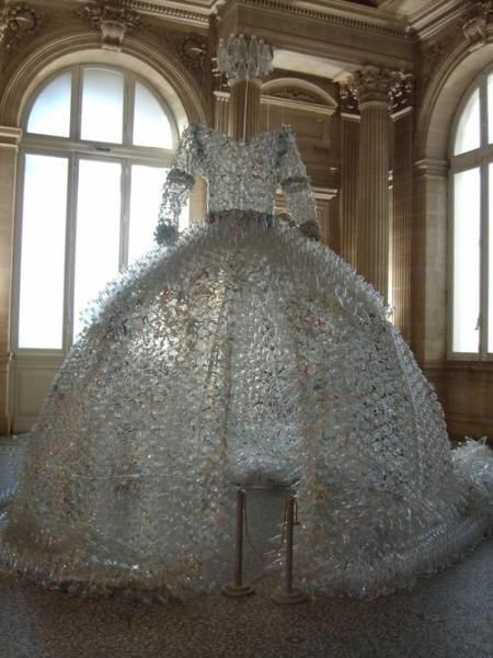 Recycled Art - dress sculpture made from plastic bottles & plastic bags // Enrica Borghi