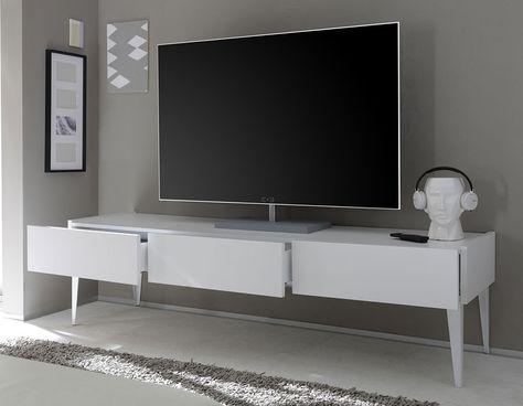 Banc Tv Avec Pieds Blanc Laque Mat Meuble Tv Meuble Meuble Tv Gris