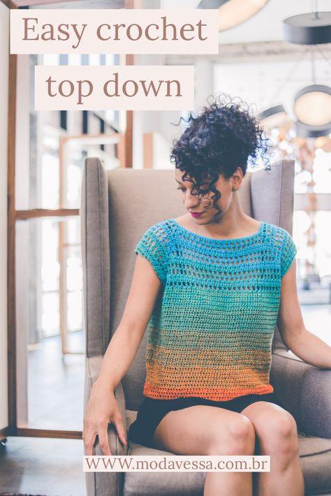 Easy Crochet Top down Crochet Mat, Crochet Shirt, Crochet Hook Sizes, Tunisian Crochet, Cute Crochet, Beautiful Crochet, Crochet Sweaters, Crochet Summer Tops, Crochet Tops