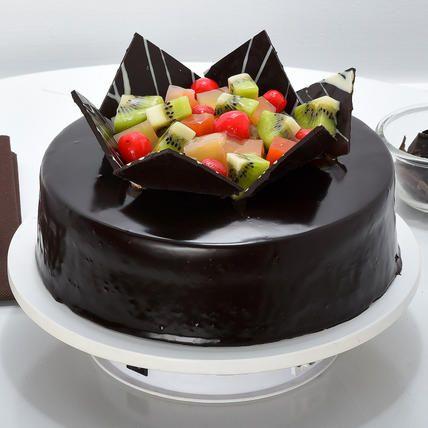Incredible Chocolate Fruit Gateau Half Kg Fruit Birthday Cake Chocolate Funny Birthday Cards Online Inifodamsfinfo