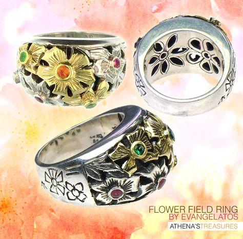 Evangelatos Flower Field Ring - 18k Gold, Sterling Silver and Mixed Gemstones. Handmade Greek Jewelry athenas-treasures.com
