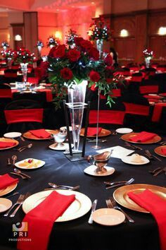 Black tie Motown event with classic red rose centerpiece and red u0026 black table linens. & Black white u0026 red table settings for reception | My Christmas ...