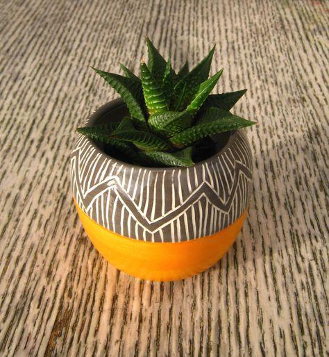Handmade Ceramic Succulent Cactus Pot Planter in Orange / Grey with Sgraffito Zigzags by CeriWhiteStudios on Etsy