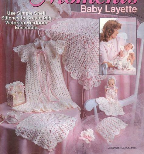 Baby Crochet Pattern - Layette Set, Blanket, Dress, Bonnet, Booties, Doll Dress,  INSTANT PDF on Etsy, $1.70