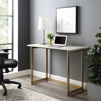 With A Flattering Faux Marble Table Top This Computer Desk Will Give Your Home Office Or Bedroom A Glam And Modern Saracina Home Marble Top Desk Writing Desk