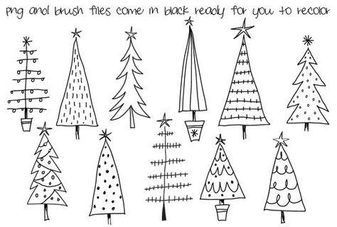 Doodle Noël arbres Clipart numérique, Photoshop CS4 + fichiers, pinceaux et tampons en couches. Téléchargement instantané. Usage Commercial personnel, Limited.