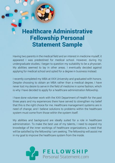Healthcare administration personal statement sample that will help ...