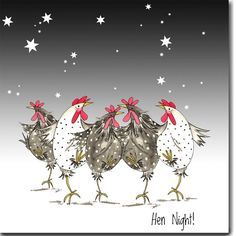 Hen Night Greeting Card - Funny Chicken Card, Barnyard, Dancing Chickens, Girls Night Out