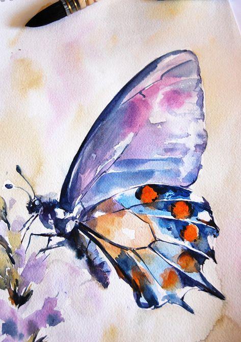 Papillon Original Peinture A Laquarelle Bleu Violet Orange Avec