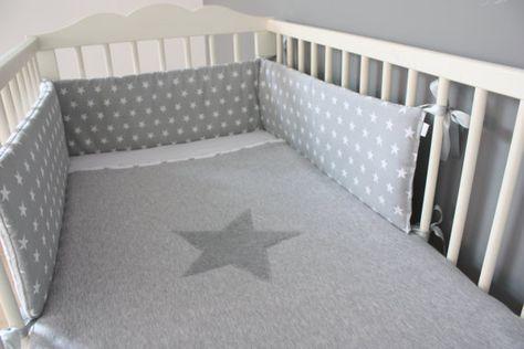 Baby Cot Bumper Crib Bumper Grey Cot Bumper Stars by myTITU - wandfarbe für badezimmer