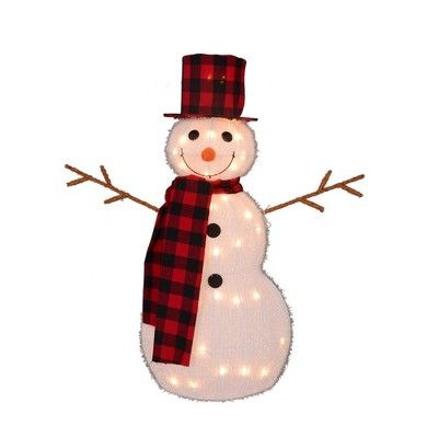 Northlight 35 Lighted 3 D Snowman With Top Hat And Twig Arms Outdoor Christmas Decoration With Images Outdoor Christmas Outdoor Christmas Decorations Christmas Yard Art