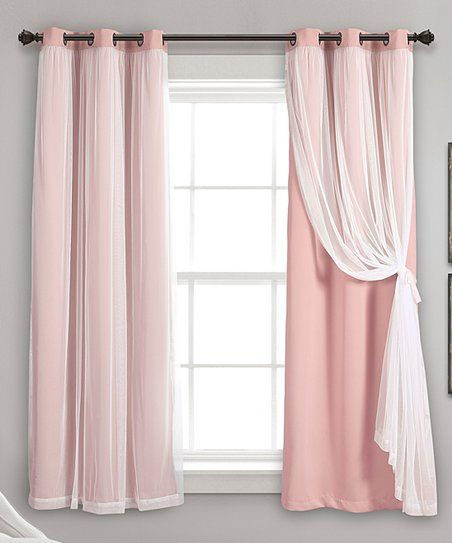 Pink Sheer Accent Room Darkening Curtain Panels Set Of Two