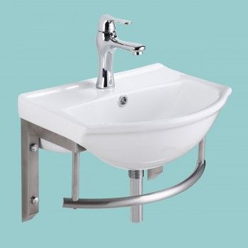 Small Wall Mount Bathroom Sink Combo Faucet And Drain With