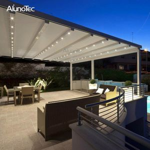 Outdoor Wind Resistance Waterproof Aluminium Pvc Retractable Awning Roof With Led Buy Pvc Pergola Retractable Pergola Aluminum Pergola Modern Gazebo Pergola