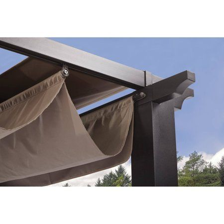 Better Homes Gardens Meritmoor 9 X 9 Steel Pergola Black Walmart Com Steel Pergola Pergola Carport Retractable Pergola
