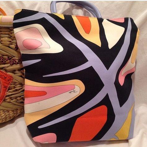 #Emilio Pucci #handbag #vintage #chic Multicolored vintage original Emilio Pucci handbag in a variety of Pucci-esque colors including orange lilac orchid red black white etc. Emilio Pucci Bags