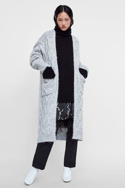 Zara Abrigo de punto gris