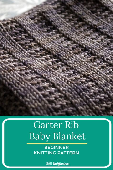This knitting rib pattern is so easy to knit. Only knits and purls in your favorite DK or worsted weight yarn. There's nothing better. Get your free knitting pattern. Beginner Knitting Blanket, Easy Blanket Knitting Patterns, Easy Knit Baby Blanket, Free Baby Blanket Patterns, Beginner Knitting Patterns, Knitted Baby Blankets, Baby Knitting, Free Knitting, Knitting Tutorials