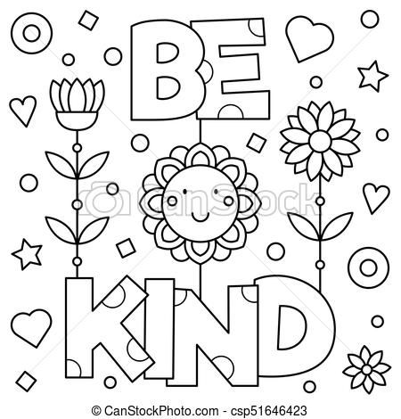 Be Kind Coloring Page Vector Illustration Csp51646423 Preschool Coloring Pages Valentine Coloring Pages Free Printable Coloring Pages