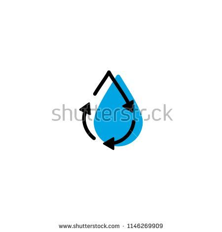 Recyceln Wassertropfen Frisch Sauber Logo Symbol Vektor Einfache Linie Gliederung Monoline Col Recycle Icon Logo Des Logo Design Recyceln Wassertropfen