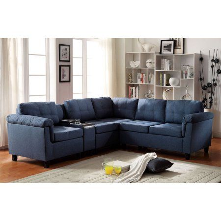 Acme Cleavon Sectional Blue Linen And Espresso Faux Leather Box 2 Of 2 Leathersectionalsofas Sectional Sofa Sofa Set Living Room Furniture