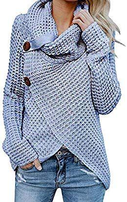 Womens Chunky Turtle Cowl Neck Asymmetric Hem Wrap Sweater Coat with Button Details Turtleneck Hankerchief Hem Loose Casual Tunic