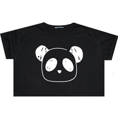 930c3366697 Bear Panda Crop Top T Shirt Tee Womens Girl Funny Fun Tumblr Hipster...  ($13) ❤ liked on Polyvore featuring tops, shirts, crop tops, black,  sweaters, ...