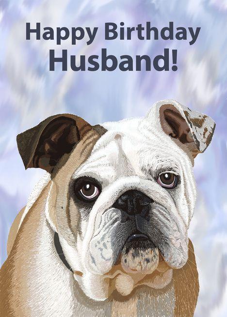 English Bulldog Puppy Birthday Card For Husband Card Ad Ad