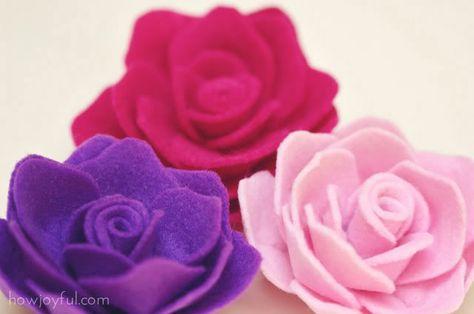 """Tutorial for felt roses at """"How Joyful"""" blog."""