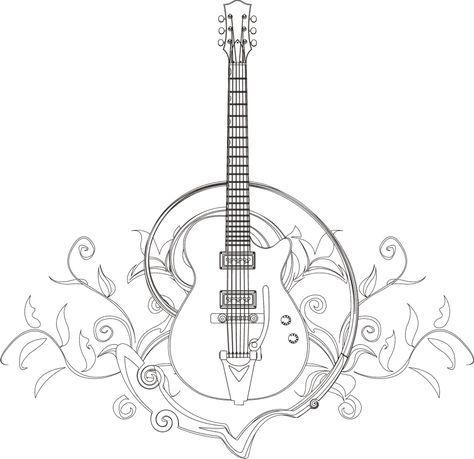 Guitar Coloring Page I Blanco Designs Com Imagens Tatuagem De