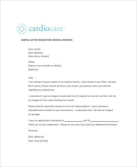 Medical Records Request Forms Free Samples Examples Format Letter