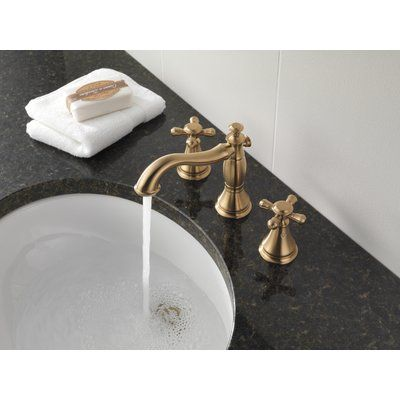 Delta Cassidy Widespread Bathroom Faucet With Metal Pop Up Finish