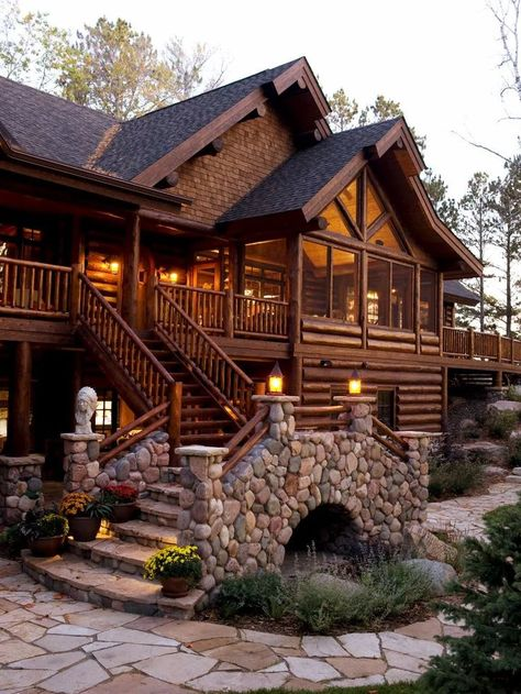 Log and stone grand entry staircase Wisconsin lake home  #entry #grand #Home #Lake #Log #staircase #Stone #wisconsin