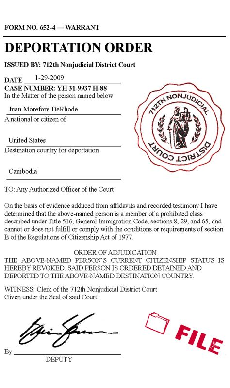 Fake deportation order immigration violation arrest court illegal - citizenship form