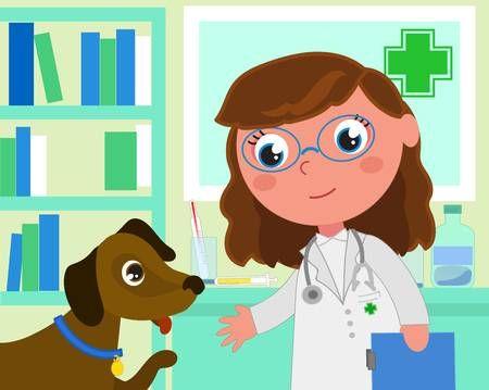 Mujer Veterinaria En Su Oficina Con Un Perro Paciente Ilustracion Vectorial De Dibujos Animados Veterinaria Dibujo Dibujos Dibujos Animados