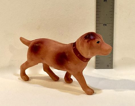 Vintage Celluloid Dog With Collar Japan 1920s 4 Inch Dog Animal