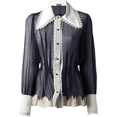 Meadham Kirchhoff Luke Polka Chiffon Blouse (13.695 NOK) ❤ liked on Polyvore featuring tops, blouses, shirts, blusas, blue, sheer shirt, blue blouse, sheer chiffon blouse, sheer blouse and blue chiffon blouse