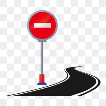 Red Road Sign Black Road Winding Road White Reflective Strip Road Clipart Hand Drawn Traffic Illustration Cartoon Illustration Png And Vector With Transparen Winding Road How To Draw Hands Road Signs