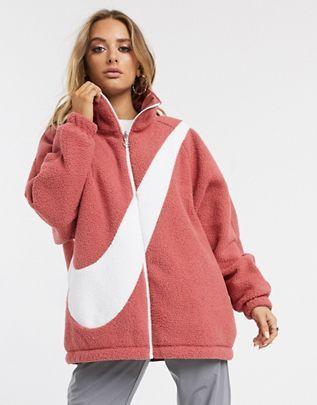Nike pink reversible teddy fleece with