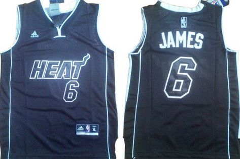 Miami Heat 6 Lebron James All Black With Heat Kids Jersey With Images Athletic Tank Tops Black Kids Kids Sports