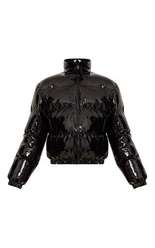 Black Cropped Vinyl Puffer Jacket Prettylittlething Usa Puffer Jackets Jackets Puffer Jacket Outfit