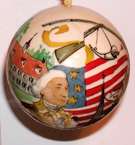 Rare! Decoupage Memory Balls 1976, Freedom Liberty Artist Boots Bailey,Signed