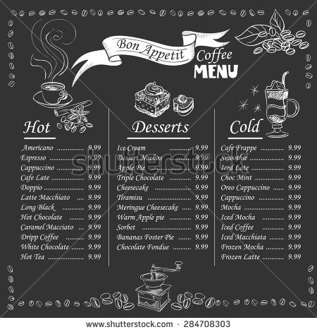 Cafe Menu Chalkboard Stock Photos, Images, \ Pictures - coffee menu