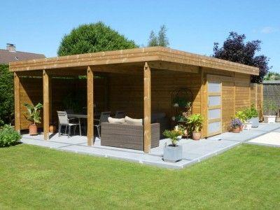 Abri De Jardin Toit Plat En Bois Avec Terrasse Abri De Jardin Moderne Abri De Jardin