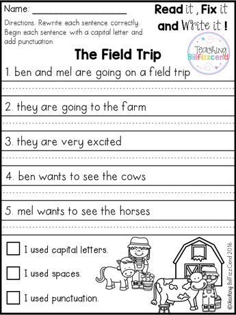 Free 20 Fix It Up Pages These Are Great For Students In Kindergarten First Grade And Second Grade Elementary Writing First Grade Writing 1st Grade Writing Editing worksheets 2nd grade