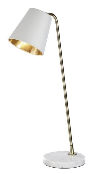 Rv Astley Cathel Table Lamp In White Marble Antique Brass Finish