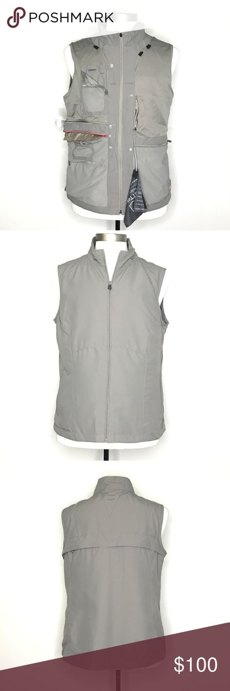 SCOTTeVest RFID Travel Vest for Women Gray A190847 SCOTTeVest RFID Travel Vest for Women. Technology Enabled Clothing (TEC). Grey, full zip, fitted with a tapered waist, so many pockets. Can fit up to a 9.7
