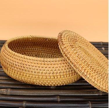 Handmade Storage Basket Small Rustic Basket Round Woven Basket With Cover Rustic Baskets Storage Baskets Basket Weaving